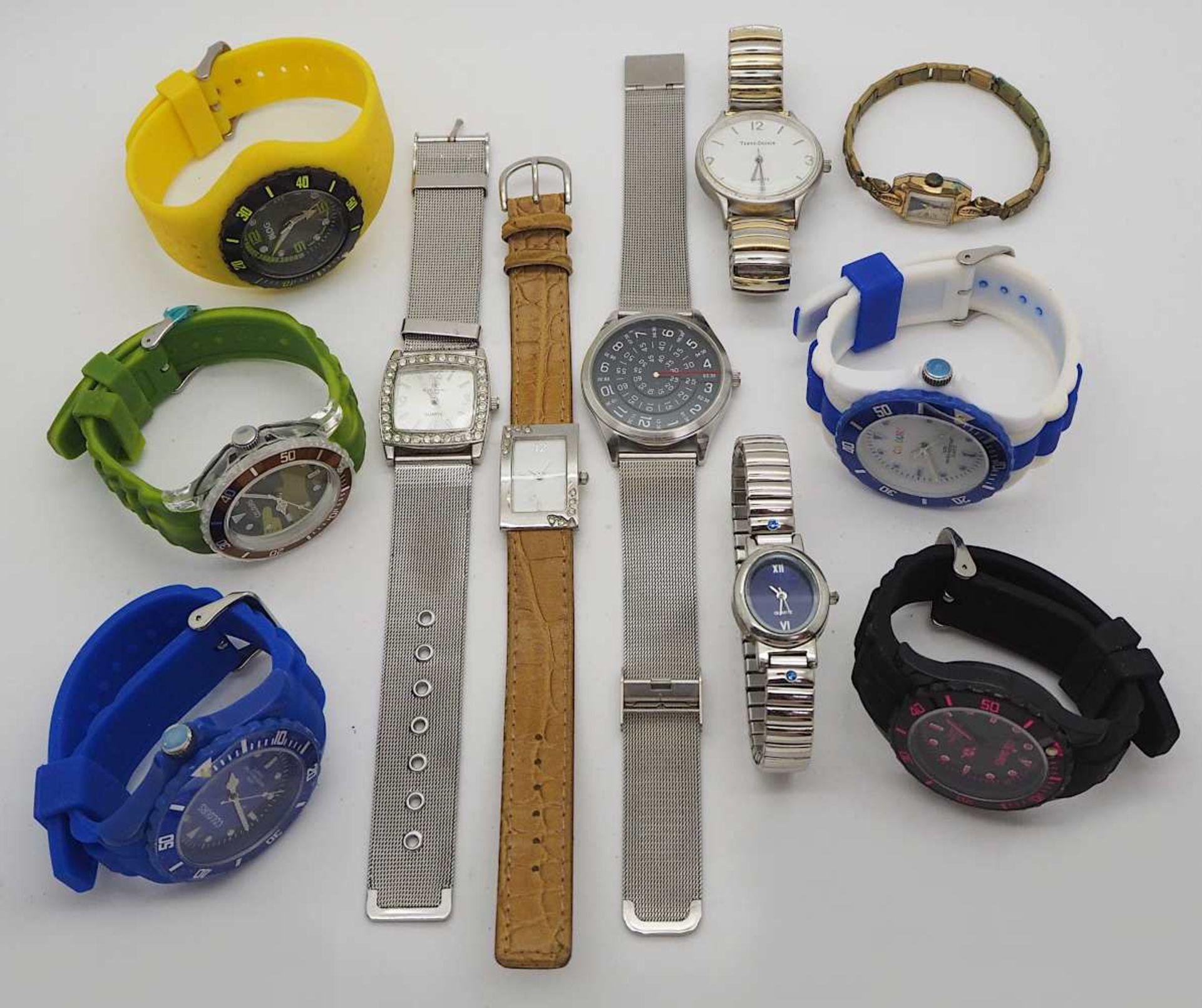 1 Konv. Armbanduhren Metall, Kunststoff, Leder Asp./ Gsp. - Bild 2 aus 2