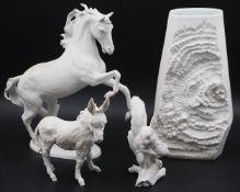 3 Bisquitporzellanfiguren KAISER, W. Germany, weiß gefasst: