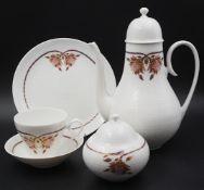 "1 Kaffeeservice Porzellan ROSENTHAL GROUP ""Classic Rose"" Form: Romanze mit violettem Blumendekor"