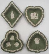1 Set Schälchen WEDGWOOD, England Jasperware mattgrün mit weißem klassizistischem Reliefdekor