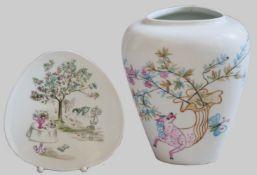 1 Vase/1 Platte je ROSENTHAL Kunstabteilung Selb, Design: Bele BACHEM
