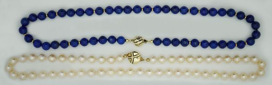 1 Perlenkette, 1 Kette wohl Lapislazuli Verschluss je GG 14ct.