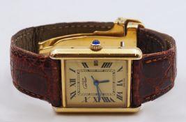 "1 Armbanduhr MUST DE CARTIER ""Tank"" Silber 925 verg. Edelstahlfaltschließe verg. Originalband"