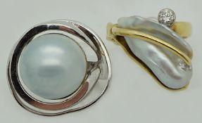 1 Damenring GG/WG 18ct. Brill. ca. 0,1ct. Perle aus der Goldschmiede K.J. GESSNER Nürnberg