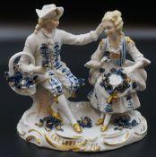 """1 Figurengruppe Porzellan SITZENDORF """"Rokokopaar"""", Unterglasurbemalung,"""