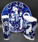 1 Platte/Teller, 2 Vasen Porzellan ROSENTHAL Design Björn WIINBLAD,