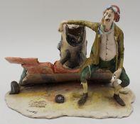"1 Figur ""Der Bruchpilot"", Ton/Keramik, LO SCRICCIOLO Italy , Entwurf T. MORETTO,"