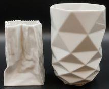 2 Vasen Porzellan ROSENTHAL, HUTSCHENREUTHER z.T. Entwurf: Tapio WIRKKALA,