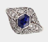 Ring, um 1910-20, 14 K WG und GG