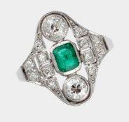 Ring, um 1930-40, 18 K WG
