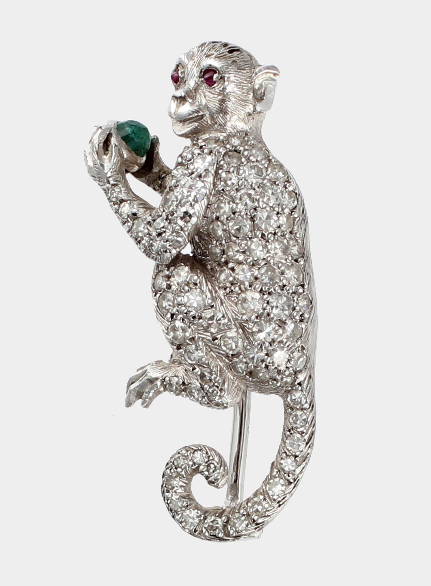 Brosche, Platin, 'Sitzender Affe'