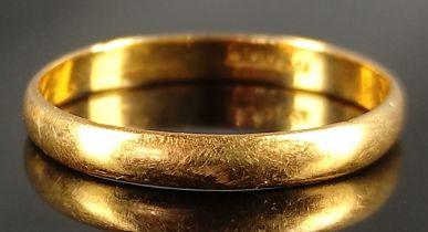 Ehering, 900/21,6K Gelbgold, 2,5g, Größe 62Wedding ring, 900/21.6K yellow gold, 2.5g, size 62
