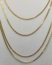 Lange Kette, fein, mäanderndes Muster, 2-oder 4-fach zu tragend, 585/14K Gelbgold, 9,1g, Länge