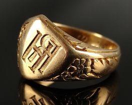 """Siegelring, Initialen """"HR"""", Innen datiert 25.12.25, 585/14K Gelbgold, 8,7g, Größe 55,5Signet ring,"""