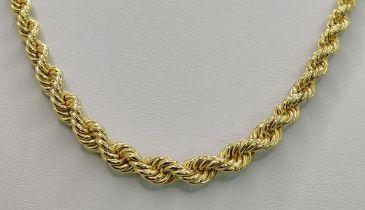 Kordelkette, 585/14K Gelbgold, 12,69g, Länge 44cmNecklace, 585/14K yellow gold, 12,69g, length 44cm