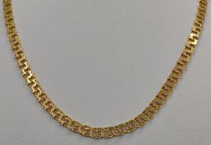 Kette mit ineinander gefassten Kreisen, 333/8K Gelbgold, 16g, Länge 45cmChain with interlocking