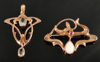 Anhänger und Brosche, mit Opalen und kleinen Brillanten, im Stil des Jugendstils, 333/8K und 585/14K