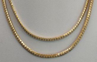Collier, 2-reihig, 750/18K Gelbgold, Steckschließe mit Sicherheitsverschluss, 51,62g, Länge