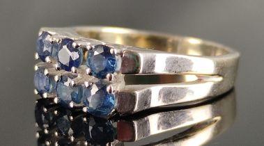 Saphirring, in zwei Reihen insgesamt 6 Saphire, 585/14K Weißgold, 5,6g, Größe 53Sapphire ring, in