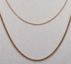Zwei Ketten, fein, 333/8K Rotgold, 6,2g, Länge 41cm und 50cmTwo chains, fine, 333/8K rose gold, 6,