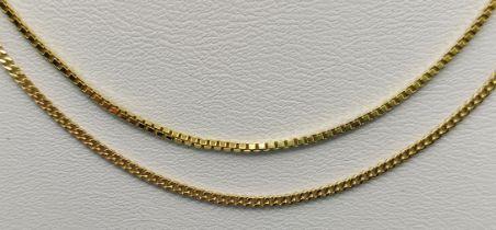 Zwei feine Ketten, 333/8K Gelbgold, 8,4g, Länge 58cm und Länge 60cmTwo fine chains, 333/8K yellow
