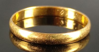 Ehering, 900/21,6K Gelbgold, 2,7g, Größe 63Wedding ring, 900/21.6K yellow gold, 2.7g, size 63