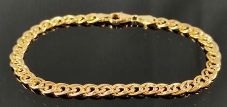 """Armband, feine ineinandergreifende ovale Elemente, 585/14K Gelbgold, Goldschmiedemarke """"FBM"""" für"""