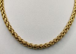 """""""Wheat"""" chain with lobster clasp, yellow gold 750/18K, Arezzo, Italy, 31.4g, length 42cm"""