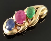 Pendant with emerald, ruby and sapphire, 4 small diamonds, goldsmith design, set in 585/14K yellow