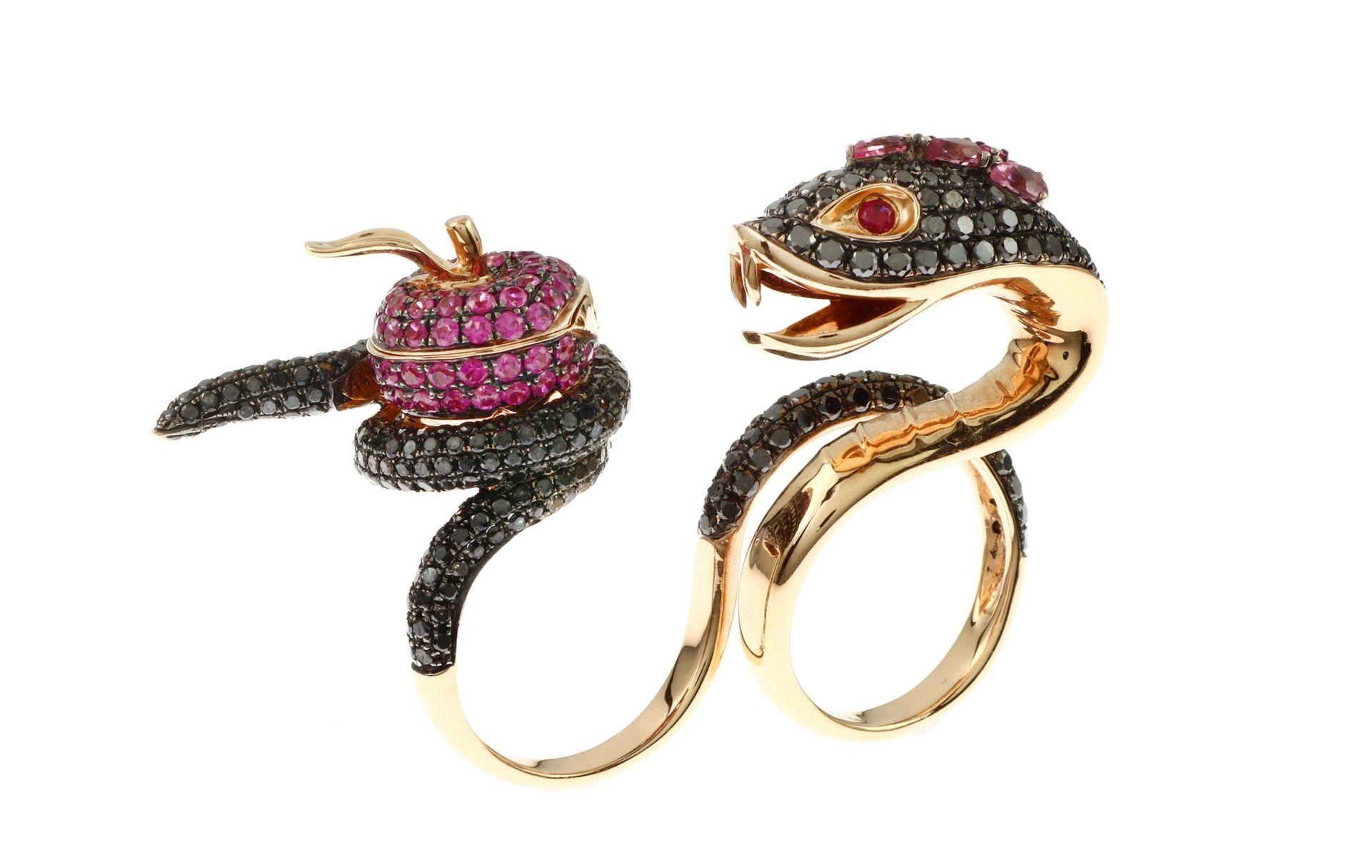 Ring mit schwarzen Diamanten, Saphir und Turmalin