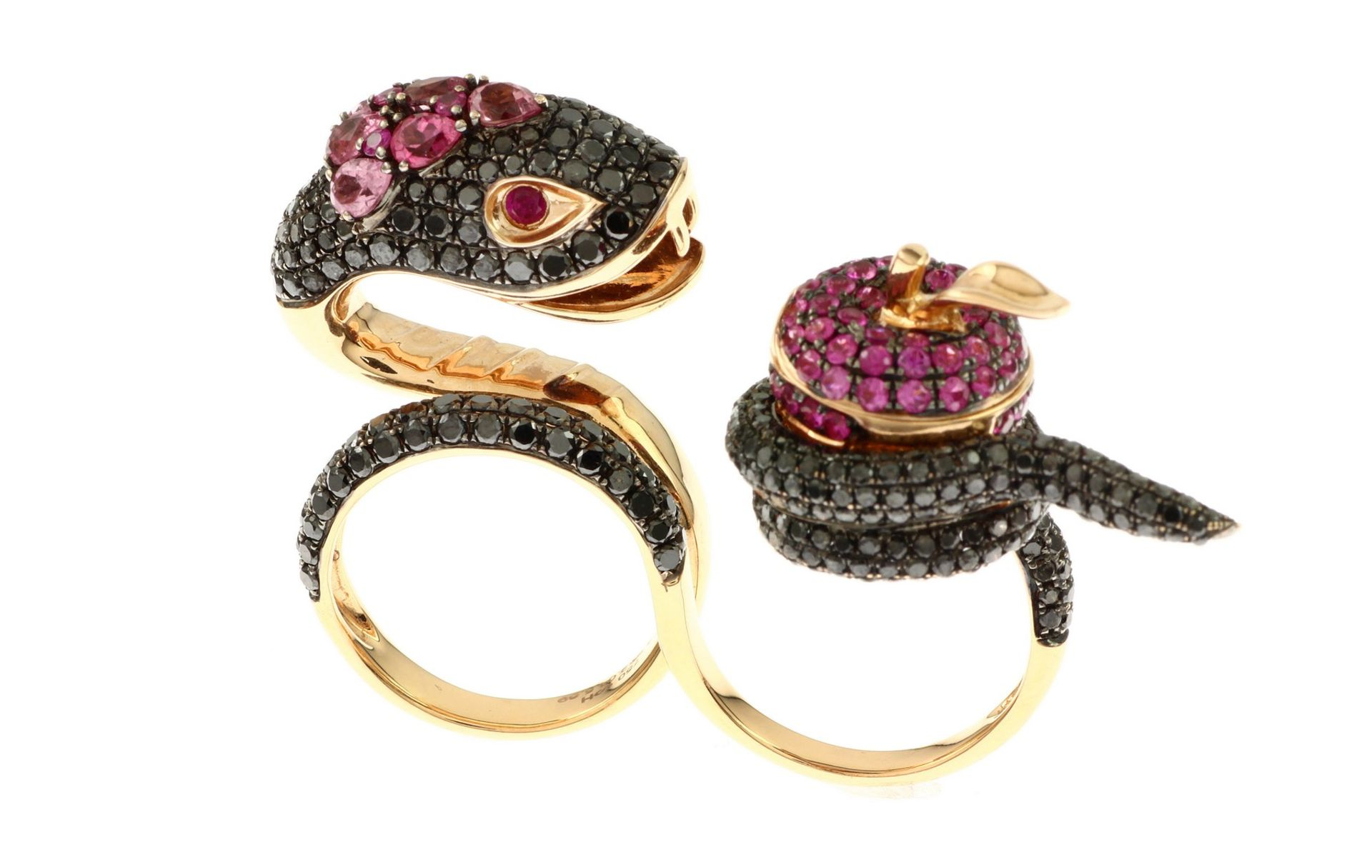 Ring mit schwarzen Diamanten, Saphir und Turmalin - Bild 3 aus 3