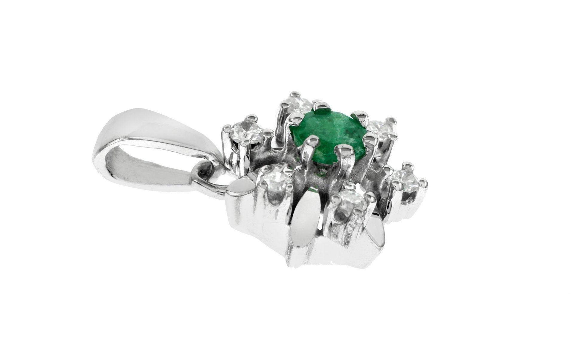 Anhänger mit Diamanten und Smaragd - Bild 2 aus 2