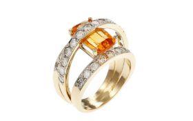 Ring mit Diamanten und Citrin