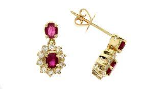 Ohrschmuck mit Diamanten und Rubinen
