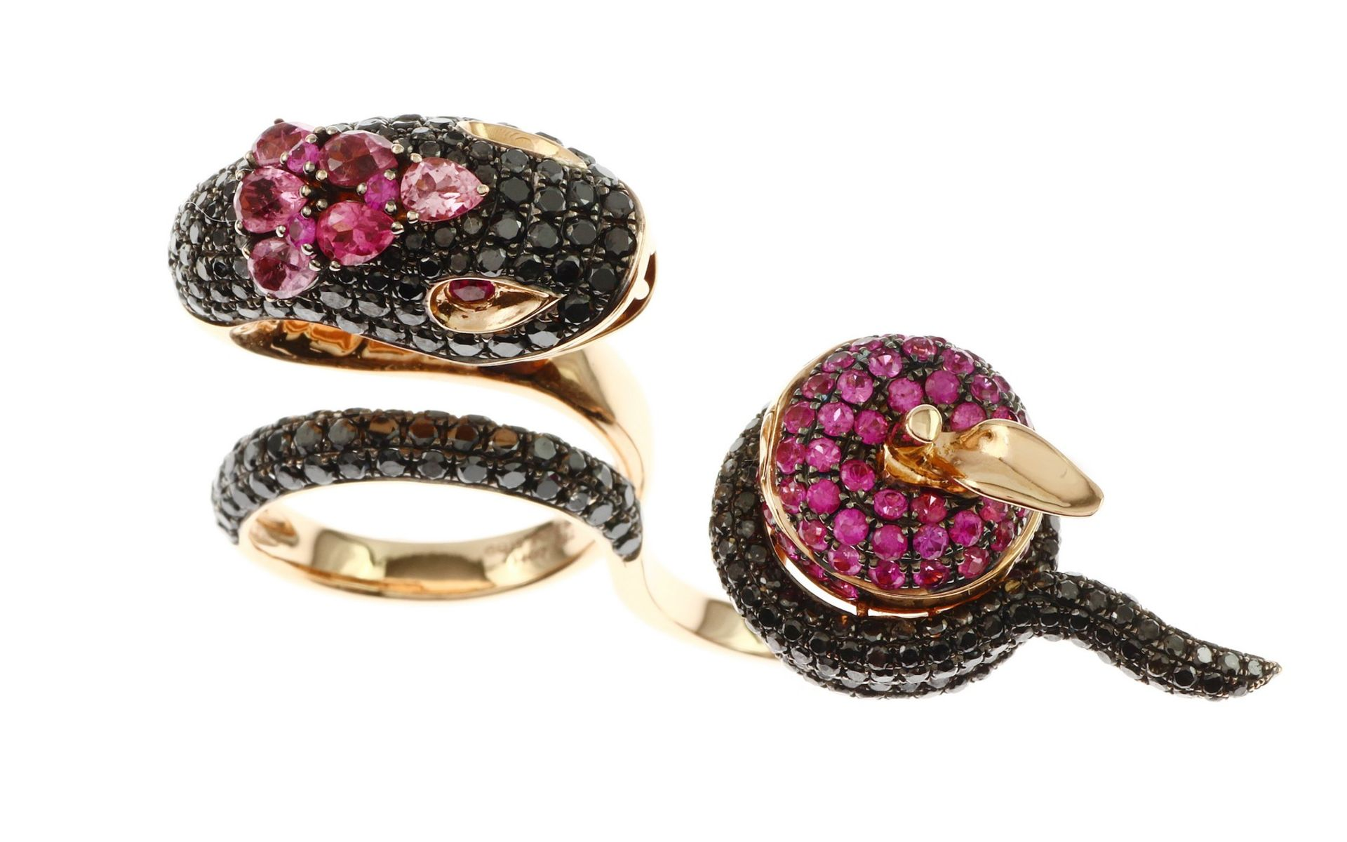 Ring mit schwarzen Diamanten, Saphir und Turmalin - Bild 2 aus 3