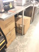 """67"""" x 28"""" all stainless steel table with 8 inch backsplash"""