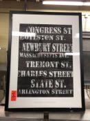 Streets of Boston framed print