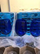 Lot cobalt blue wine glasses