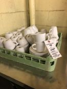 Lot white coffee cups