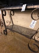 Iron frame table with glass tile inlay