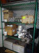 (1) Contents of Rack. Sheet Pans, Sippers, Rum Buckets, Glassware, Stemware, etc.