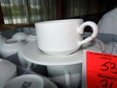 (360) Fortessa White Coffee Cups with Racks and Some Saucers