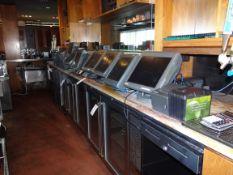 (1) POS System. (9) Screens (12) Printers