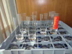 (197) Assorted Rocks, Flutes and Highballs with 7 Racks