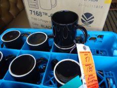 (135) Black and White Coffee Mugs with Racks
