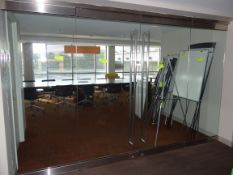 """(1) Commercial Double Glass Interior Doors, Frames and Hardware. 135"""" X 86""""."""