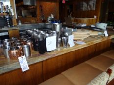 (1) Lot Assorted Glassware and Cutting Boards On Top of Bar