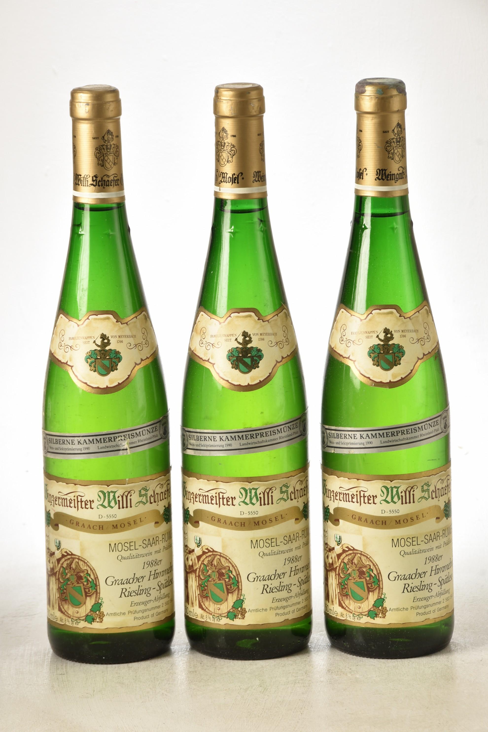 Graacher Himmelriech Riesling Spatlese 1988 Willi Schaefer 3 bts