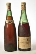 Chateau de Fesles Bonnezeaux 1947 and Unknown wine 1947 believed also Loire Chenin