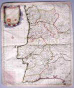 Kupferstich-Karte von Petrus Schenk, datiert 1703, altkoloriert